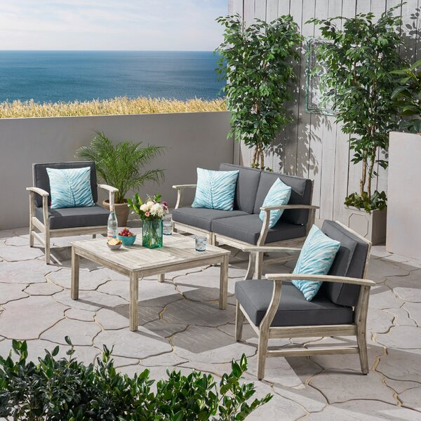 Gianni Outdoor 5 Piece Sofa Seating Group with Cushions by Foundry Select