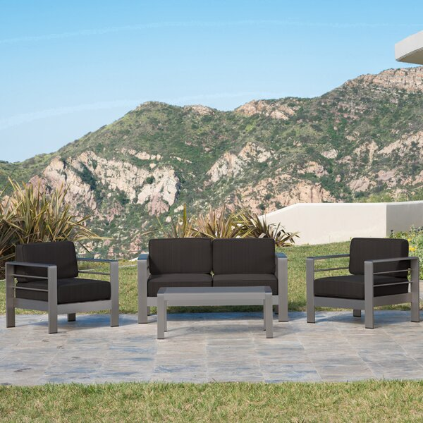 Royalston 4 Piece Sunbrella Sofa Seating Group with Cushions by Brayden Studio