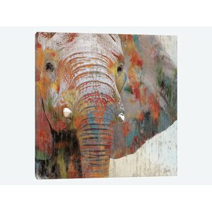 'Paint Splash Elephant' Graphic Art Print on Canvas by East Urban Home