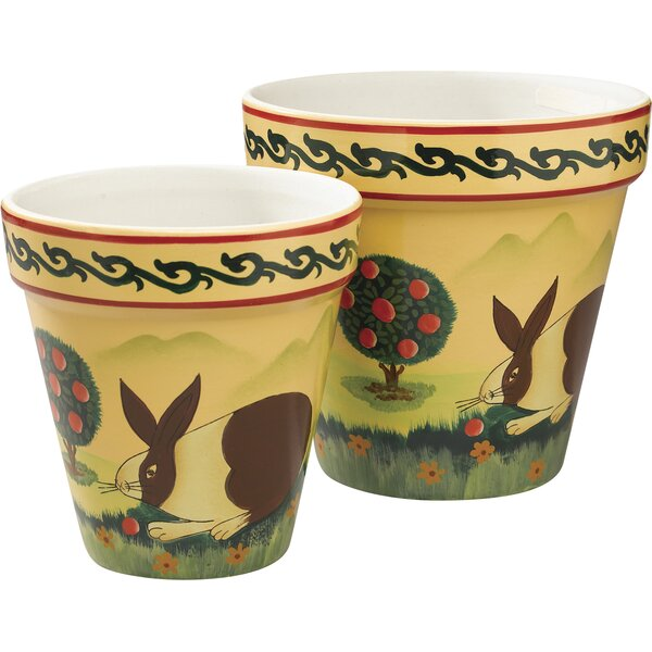 2 Piece Ceramic Pot Planter Set by AA Importing