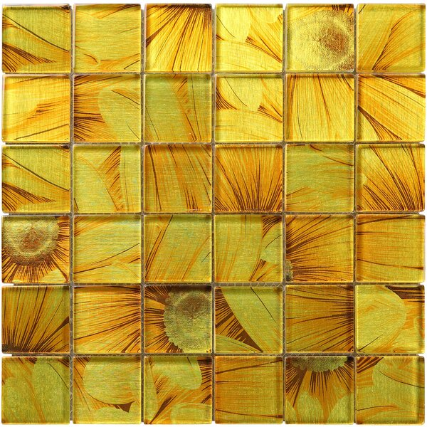 Season Series Sun Flower 2 x 2 Glass Mosaic Tile in Yellow by Multile