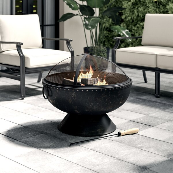 Tuscola Hohman Firebowl Steel Wood Fire Pit with Handles and Spark Screen by Greyleigh