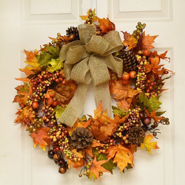 22 Fall Berry and Oak Leaf Wreath by The Holiday Aisle