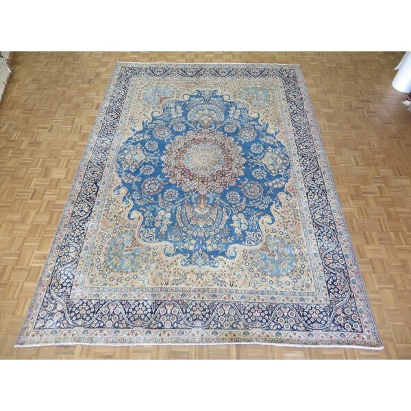 One-of-a-Kind Padro Kerman Hand-Knotted Blue Area Rug by Bloomsbury Market