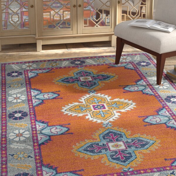 Arteaga Persian Inspired Orange/Blue Area Rug by Bungalow Rose