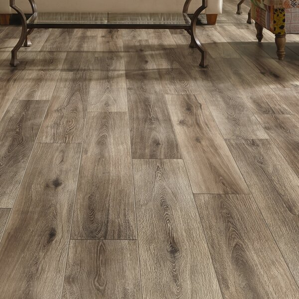 Restoration Wide Plank 8'' x 51'' x 12mm Laminate Flooring in Brushed Gray by Mannington