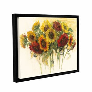 Gathering Sunflowers Framed Painting Print on Wrapped Canvas by Three Posts