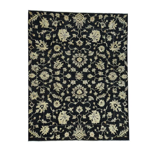 One-of-a-Kind Pleasant Avenue Peshawar Oriental Hand-Knotted Black Area Rug by World Menagerie
