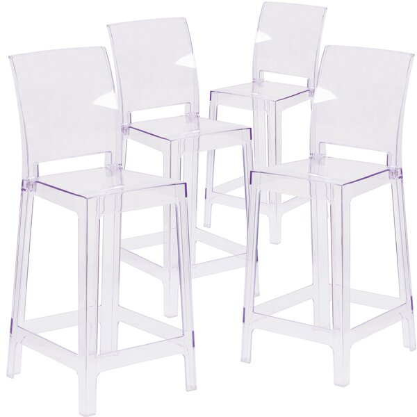 Darchelle Counter Bar Stool with Square Back (Set of 4) by Willa Arlo Interiors