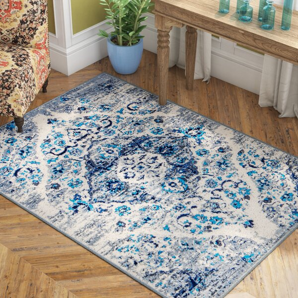 Three Lakes Distressed Floral Motif Blue/Gray Area Rug by Bungalow Rose