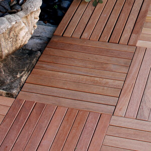 Le Click 16 x 16 Teak Deck Tile in Natural by Infi