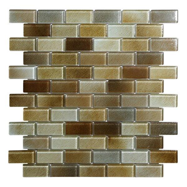 Hi-Fi Offset Brick 1 x 2 Glass Mosaic Tile in Warm Brown/Beige/Off White by Kellani