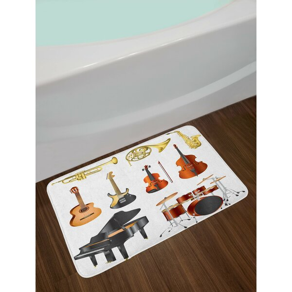 Music Collection of Musical Instruments Symphony Orchestra Concert Composition Theme Print Non-Slip Plush Bath Rug by East Urban Home