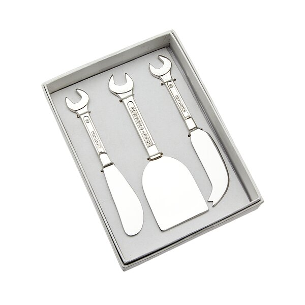 3 Piece Wrench Handle Cheese Knife Set by Godinger