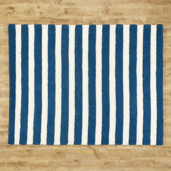 Stripe Out Hand-Woven Navy/White Area Rug by Birch Lane Kids™