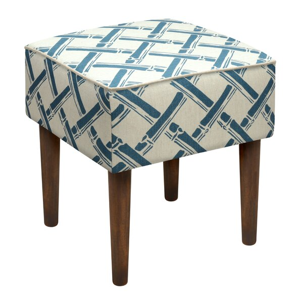 Bamboo Trellis Upholstered Vanity Stool by 123 Creations
