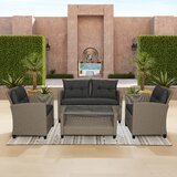 Squad 4 Piece Rattan Sofa Seating Group with Cushions by Latitude Run