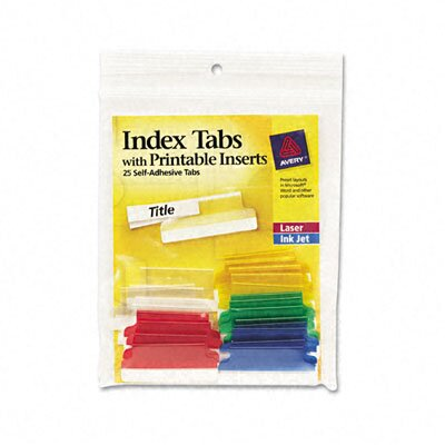 Self-Adhesive Tabs with Printable Inserts (25/Pack) by Avery Consumer Products