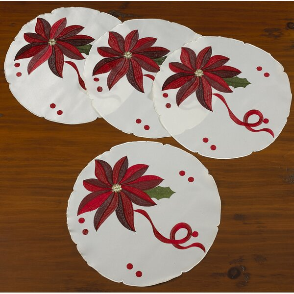 Bloomy Decorative Christmas Round Placemats (Set of 4) by The Holiday Aisle