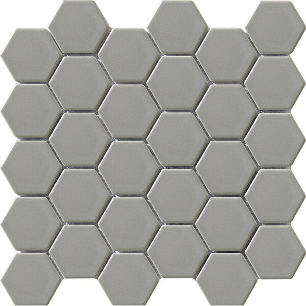 Vintage Glazed 2 x 2 Porcelain Mosaic Tile in Gray Hexagon by Walkon Tile