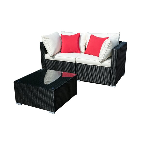 Belfast 3 Piece Rattan Seating Group with Cushions by Latitude Run