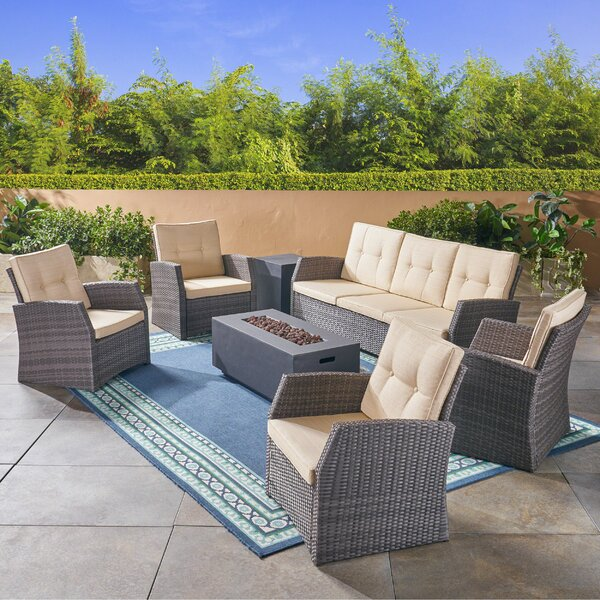 Loganville Outdoor 7 Piece Rattan Sofa Seating Group with Cushions by Rosecliff Heights