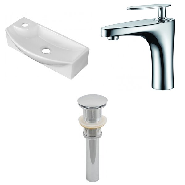 Ceramic U-Shaped Bathroom Sink with Faucet by American Imaginations