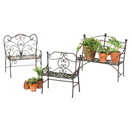 3 Piece Metal Garden Bench Set by Evergreen Flag & Garden