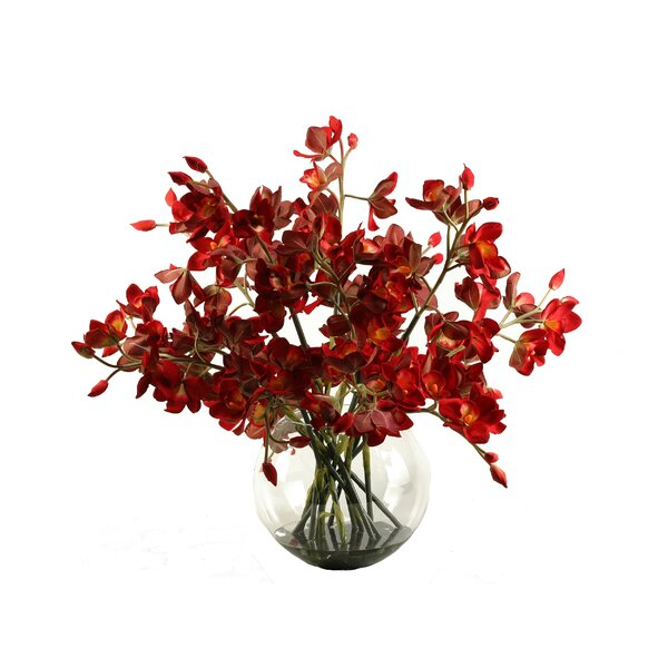 Cherry Red Cymbidium Orchids in Glass Bubble Bowl by D & W Silks