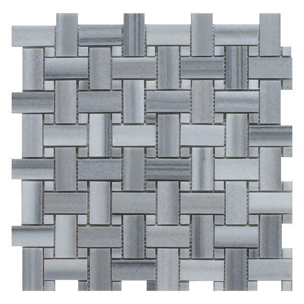 Equator Basket Weave Random Sized Marble Mosaic Tile in Gray by Seven Seas