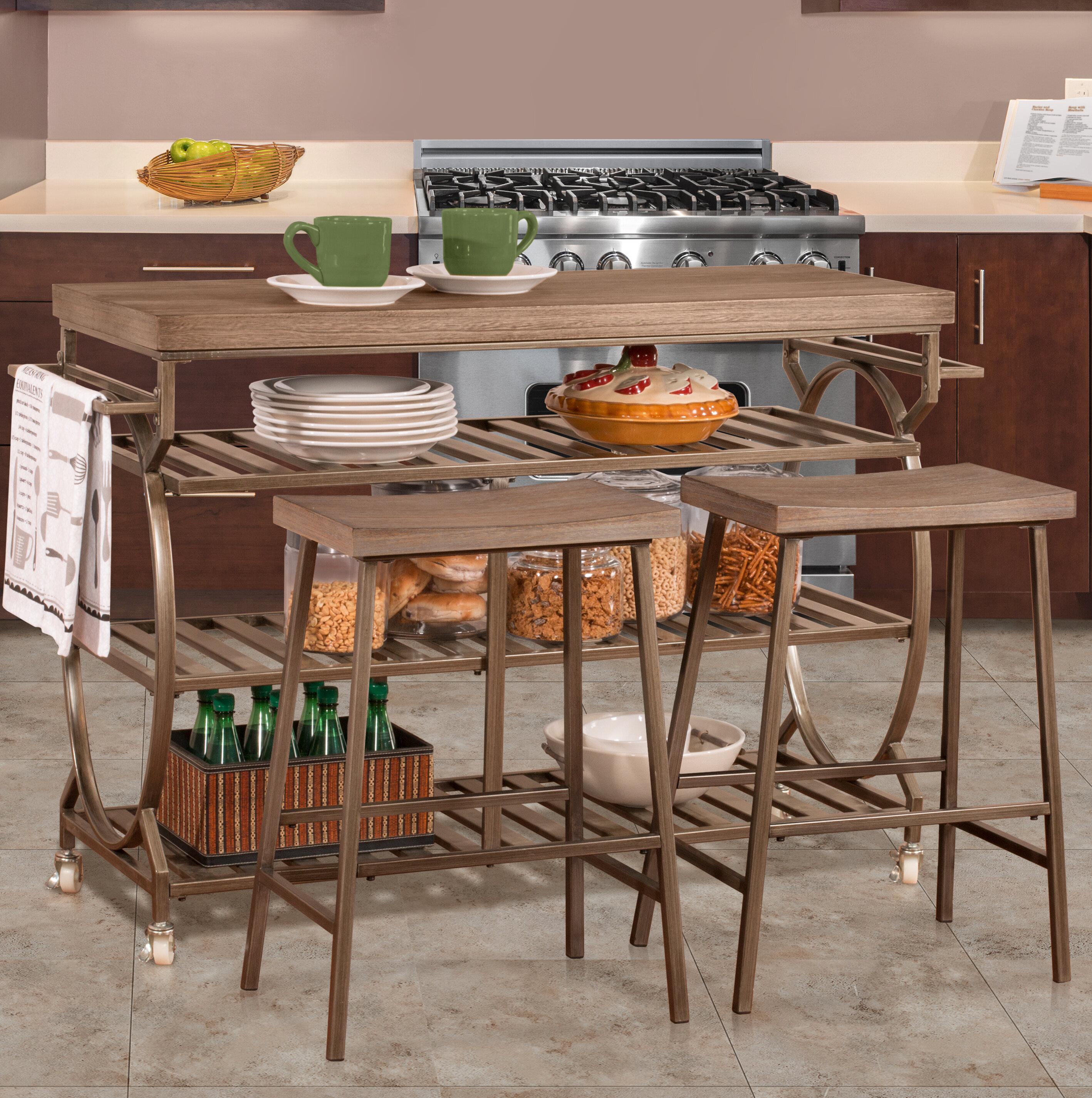August Grove Bayles 3 Piece Kitchen Island Set Reviews Wayfair Ca