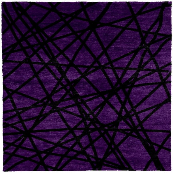 One-of-a-Kind Jeremey Hand-Knotted Tibetan Purple/Black 8' Square Wool Area Rug