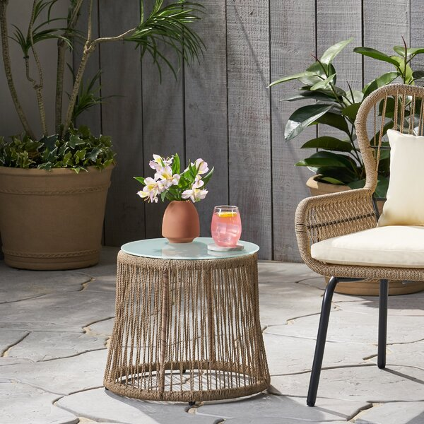 Mcclurg Glass Side Table by Bungalow Rose
