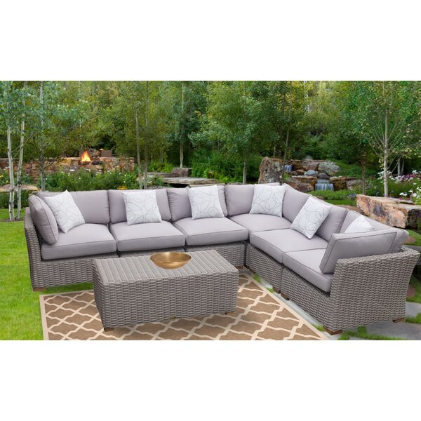 Dutil 7 Piece Rattan Sunbrella Sectional Seating Group with Cushions Brayden Studio BRAY4815