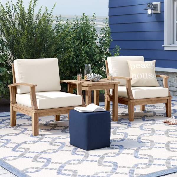 Elaina 3 Piece Teak Conversation Set with Cushions by Beachcrest Home