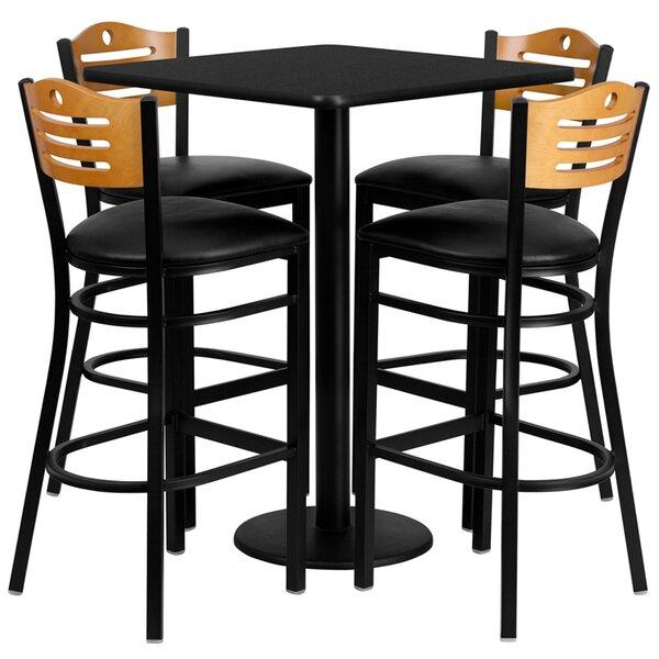 Joyeta 5 Piece Pub Table Set in Black by Red Barrel Studio