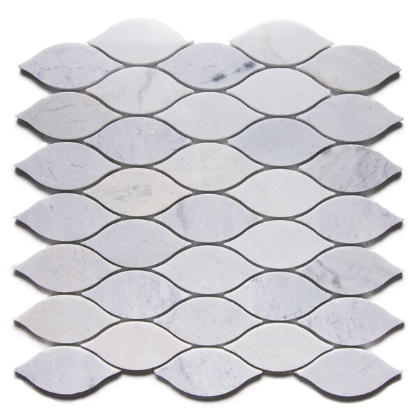 La Paz Modern Tear Drop 2 x 4 Marble Mosaic Tile in White by Byzantin Mosaic