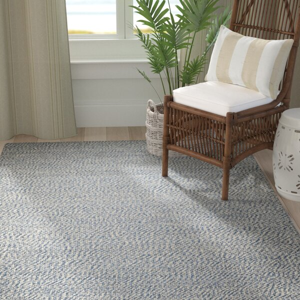 Abrielle Natural Fiber Hand-Woven Blue/Ivory Indoor Area Rug by Highland Dunes