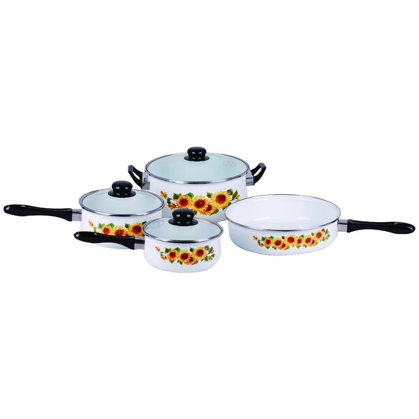 7 Piece Traditional Sunflower Enamel Stainless Steel Cookware Set by Gourmet Chef