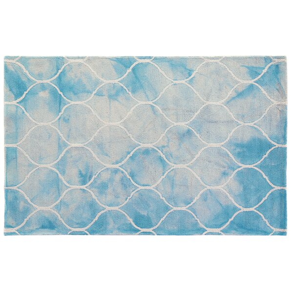 Dip-Dye Hand-Tufted Wool Aqua Area Rug by Exquisite Rugs