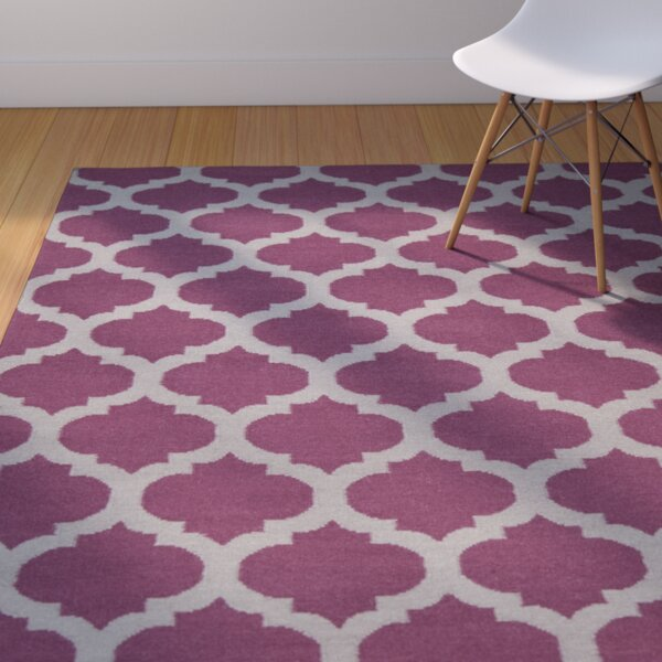 Hackbarth Hand-Woven Raspberry Wine/Gray Area Rug by Zoomie Kids