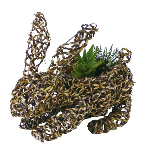Large Bunny Rope Topiary 14 Rattan Statue Planter by Gardener Select