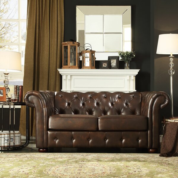 Vegard Tufted Chesterfield Faux Leather Loveseat by Willa Arlo Interiors