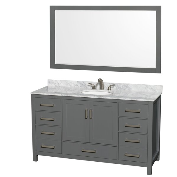 Sheffield 60 Single Bathroom Vanity Set with Mirror by Wyndham Collection