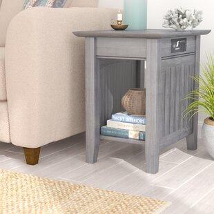 Glenni Rectangular Wood End Table with Storage