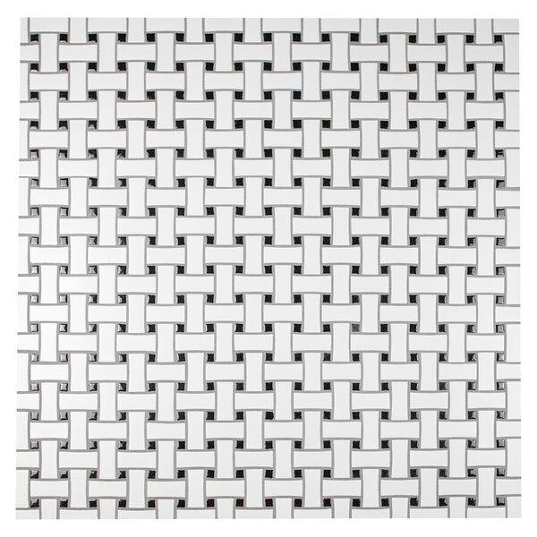 Retro Basket Weave Random Sized Porcelain Mosaic Tile in Matte White/Black by EliteTile