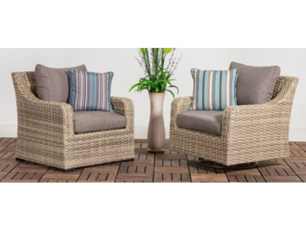 Denny Patio Wicker Chair with Cushion (Set of 2) by Rosecliff Heights