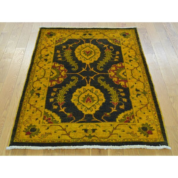 One-of-a-Kind Beaumont Mahal Design Hand-Knotted Black Wool Area Rug by Isabelline