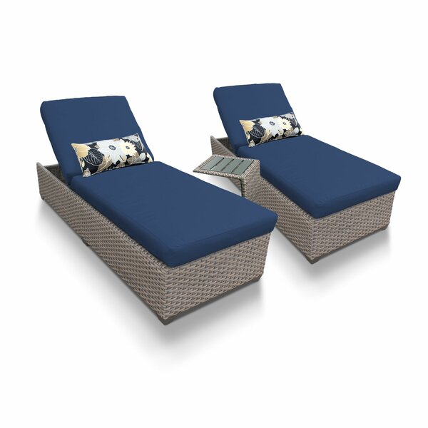 Merlyn Outdoor Chaise Lounge with Cushions and Table (Set of 2)
