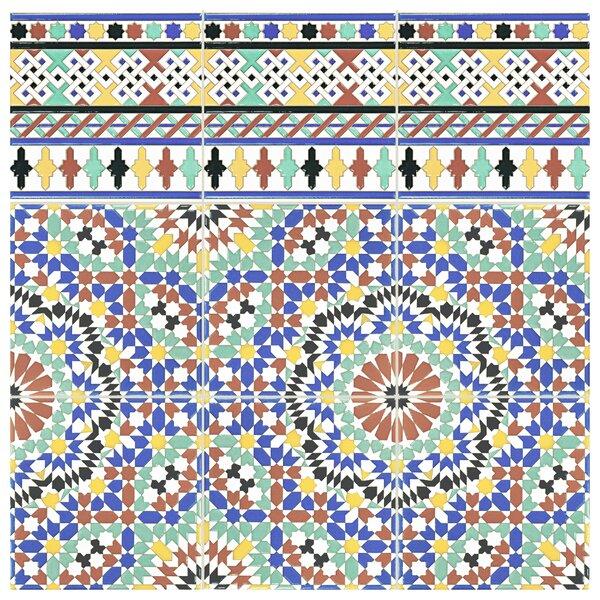 Hispalis 7.88 x 7.88 Ceramic Cenefa Border Tile in Blue/Green (Set of 25) by EliteTile